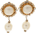 Luxury Accessories:Accessories, Chanel 1985 Gripoix Pearl and Diamante Runway Earrings. ... (Total: 2 Items)
