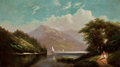 American:Hudson River School, FROM THE FLANNER & BUCHANAN CORPORATE COLLECTION. AMERICANSCHOOL (19th Century). Landscape with Mountain Lake andFigur...