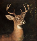 American:Portrait & Genre, ALEXANDER POPE (American, 1849-1924). Buck in the Forest. Oil on canvas laid on masonite . 29 x 26 inches (73.7 x 66.0 c...