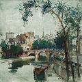 Fine Art - Painting, European:Contemporary   (1950 to present)  , CONSTANTINE KLUGE (French, 1912-2003). Ile de la Cité. Oilon canvas. 32 x 32 inches (81.3 x 81.3 cm). Signed lower righ...