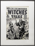 Original Comic Art:Covers, Lee Elias - Witches Tales #8 Cover Original Art Cover (Harvey,1952). This pretty li'l gal is too young to die -- or issh...