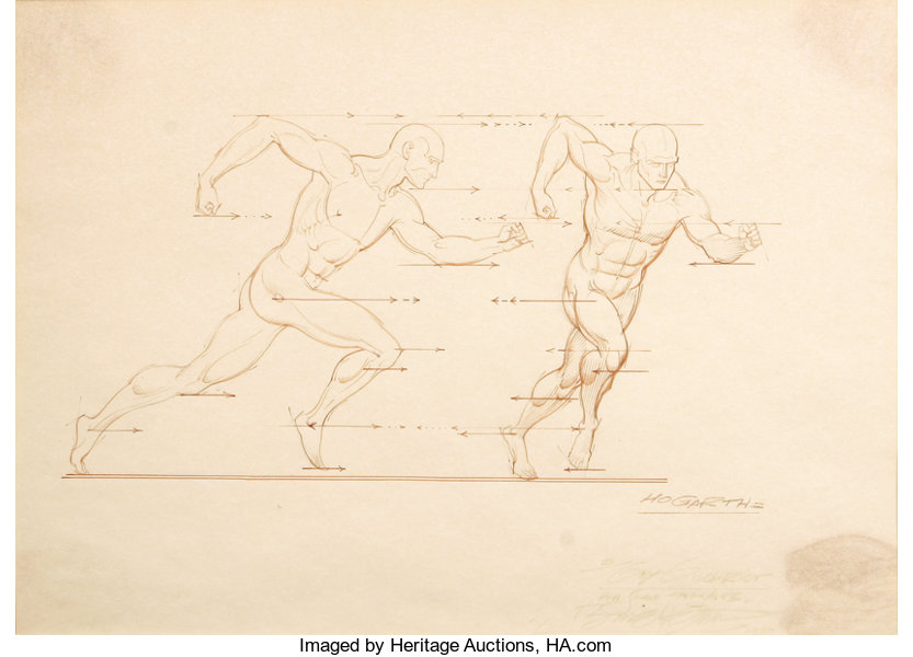 Burne Hogarth - Dynamic Anatomy Illustration Original Art | Lot ...