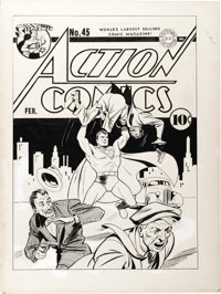 Fred Ray - Action Comics #45 Superman Cover Original Art (DC, 1942)