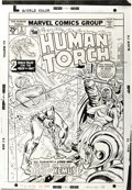 Original Comic Art:Covers, Ron Wilson and Frank Giacoia - The Human Torch #3 Cover OriginalArt (Marvel, 1975). Johnny Storm struggles against the flam...