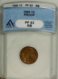 Proof Indian Cents: , 1890 1C PR63 Red and Brown ANACS. NGC Census: (22/105). PCGS Population (61/126). Mintage: 2,740. Numismedia Wsl. Price: $1...