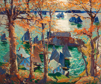 FROM THE COLLECTION OF THE FAMILY OF JAMES H. NAIL  JONAS LIE (Norwegian-American, 1880-1940) Off on the