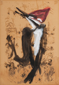 MORRIS GRAVES (American, 1910-2001) Woodpecker, 1943 Tempera and ink on paper 20 x 14 inches (50