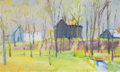 Paintings, WOLF KAHN (American, b. 1927). Early Spring in New Jersey, 1976. Oil on canvas. 18 x 30 inches (45.7 x 76.2 cm). Signed ...