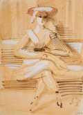 American:Modern, REGINALD MARSH (American, 1898-1954). Girl on a Park Bench,1953. Gouache and ink wash on paper. 6 x 4-1/2 inches (15.2 ...