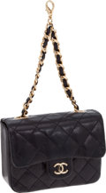 """Luxury Accessories:Accessories, Chanel Black Quilted Lambskin Micro Mini Flap Bag Charm with GoldHardware, 4"""" x 3"""" x 1.5"""", Pristine Condition. ..."""