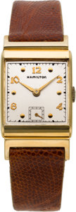 "Timepieces:Wristwatch, Hamilton ""Wesley"" 14k Gold Watch, Original Boxes. ..."