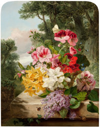 JOHN WAINWRIGHT (British, 19th Century) Floral Still Life, 1865 Oil on canvas 18 x 14 inches (45