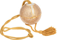 """Judith Leiber Rare Full Bead Champagne and Silver Comet Minaudiere with Tassel, 4"""" x 4"""" x 4"""", Pristine Co..."""