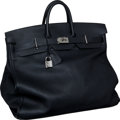 "Luxury Accessories:Travel/Trunks, Hermes 50cm Black Fjord Leather HAC Travel Birkin Bag withPalladium Hardware, 19.5"" x 16"" x 10"", Excellent Condition. ..."