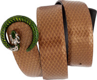 "Gucci by Tom Ford Runway Copper Snakeskin Belt with Green Enamel & Jeweled Clasp, 33"", Pristine Condition"