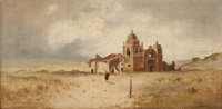 FREDERICK FERDINAND SCHAFER (American, 1839-1927) Carmel Mission Oil on canvas 12 x 24 inches (30