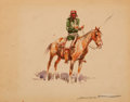 Works on Paper, EDWARD BOREIN (American, 1873-1945). Indian on Horseback. Watercolor on cardstock. 4-1/4 x 5-1/4 inches (10.8 x 13.3 cm)...