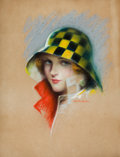 Pin-up and Glamour Art, CHARLES GATES SHELDON (American, 1889-1960). Girl in CheckeredHat. Pastel on board. 24 x 18.5 in.. Signed lower right. ...