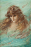 Mainstream Illustration, WILLIAM HASKELL COFFIN (American, 1878-1941). Woman AmongFish. Pastel on board. 27 x 18 in.. Signed lower right.Fr...