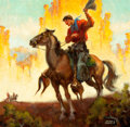 Mainstream Illustration, JOHN STEVENS COPPIN (American, 1904-1986). Cowboy onHorseback. Oil on canvas. 22 x 23 in.. Signed lower right.From...