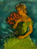 Pin-up and Glamour Art, BRADSHAW CRANDELL (American, 1896-1966). Blonde with RedRoses. Oil on canvas. 40 x 30 in.. Signed lower right. ...