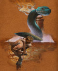 Pulp, Pulp-like, Digests, and Paperback Art, RICHARD HESCOX (American, b. 1949). Snake Pit. Oil onmasonite. 20 x 16 in.. Signed lower right. ...