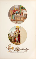 """Antiques:Posters & Prints, Chromolithographic Reproduction of """"Paintings in windows of anancient mansion in ye lower street, Islington, Middx, 1784.""""..."""