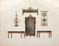 Antiques:Posters & Prints, Hand-Colored Engraving of Two Tables, A Mirror, A Candelabra, aFount, and a Bed-Curtain....