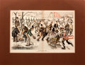 "Antiques:Posters & Prints, F. Opper. Double-Page Tinted Lithograph from Puck Magazine Entitled ""On the Union Pond"" Lampooning the Post Civil..."