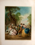 Antiques:Posters & Prints, Chromolithographic Print of Eighteenth-Century People EnjoyingRevels Outside....