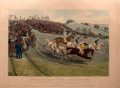 "Antiques:Posters & Prints, Charles Hunt. Hand-Colored Engraving of a Horse Race, Entitled:""Northampton Grand National Steeple Chase, 1840""...."