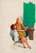 Paintings, AMERICAN ARTIST (20th Century). Love Hungry Woman, paperback book cover, 1962. Gouache and tempera on board. 22 x 15 in....