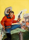 Pulp, Pulp-like, Digests, and Paperback Art, SAM CHERRY (American, 1903-1975). Cowboy Shootout, western pulpcover, circa 1940s. Oil on canvas board. 22.5 x 16.5 in....