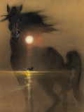 Mainstream Illustration, ROBERT PEAK (American, 1927-1992). The Black Stallion, finishedalternative movie poster art, 1979. Mixed media on board...