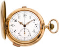 "Timepieces:Pocket (pre 1900) , Swiss 14k Gold Quarter Hour ""Carillon"" Repeater With Chronograph, circa 1890's. ..."