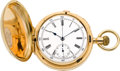 Timepieces:Pocket (pre 1900) , Swiss 18k Gold Minute Repeater With Chronograph, circa 1888. ...