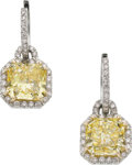 Estate Jewelry:Earrings, Fancy Yellow Diamond, Diamond, Platinum, Gold Earrings. ...