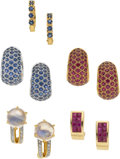 Estate Jewelry:Earrings, Sapphire, Ruby, Moonstone, Diamond, Gold Earrings. ...