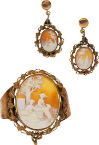 Shell Cameo, Gold Jewelry Suite
