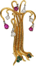 Estate Jewelry:Brooches - Pins, Diamond, Ruby, Emerald, Gold Brooch. ...