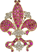 Estate Jewelry:Pendants and Lockets, Ruby, Diamond, Gold Brooch. ...