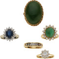 Estate Jewelry:Rings, Synthetic Diamond, Diamond, Sapphire, Jade, Emerald, Gold Rings....