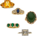 Estate Jewelry:Rings, Multi-Stone, Diamond, Gold Rings. ...