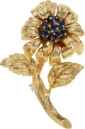 Estate Jewelry:Brooches - Pins, Sapphire, Gold Brooch. ...