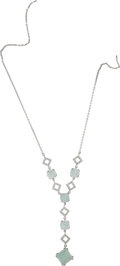 Estate Jewelry:Necklaces, Labradorite, Diamond, White Gold Necklace. ...