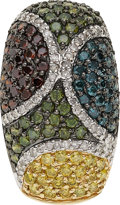 Estate Jewelry:Pendants and Lockets, Colored Diamond, Diamond, Sapphire, Garnet, Gold Pendant. ...