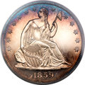 Proof Seated Half Dollars, 1859 50C PR64 Cameo PCGS Secure. CAC....