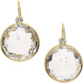 Estate Jewelry:Earrings, White Topaz, Diamond, Gold Earrings. ...