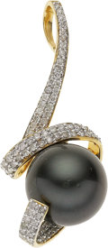 Estate Jewelry:Pendants and Lockets, Black South Sea Cultured Pearl, Diamond, Gold Pendant. ...