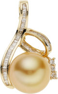 Estate Jewelry:Pendants and Lockets, South Sea Cultured Pearl, Diamond, Gold Pendant-Enhancer. ...